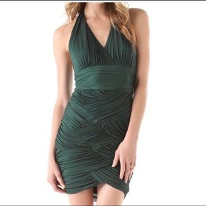 Halston Heritage emerald basket weave halter dress